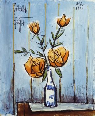 Roses-orange-fond-bleu