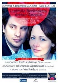 Récital Roméo et Juliette - Prokofiev / Dunayevsky / Bernstein - Salle Cortot
