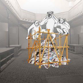 installation cage - Expo Chroniques -Artistes à la Bastille - bd