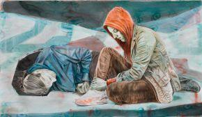 ART COLLECTOR Levasseur-Iris-dapres-hodler-223-x-129-cm-2012-collection-E-DERET