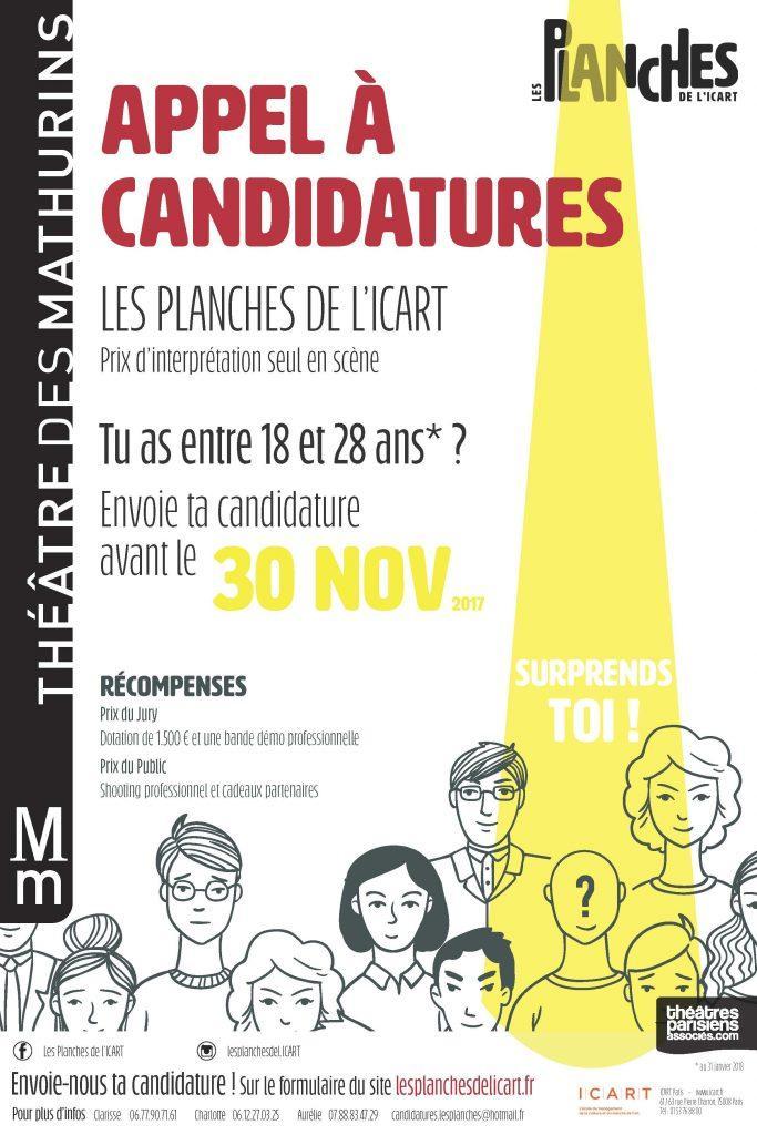 affiche les planches de l'icart 2018 1ere editions theatre des mathurins artistik rezo paris