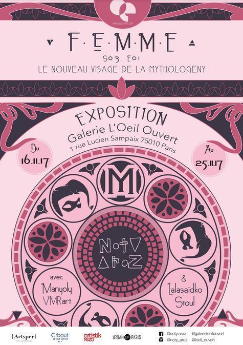 noty aroz la femme vernissage exposition galerie l'oeil ouvert artistik rezo paris