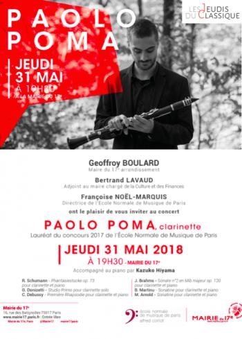 paolo poma recital de clarinette mairie du 17 eme musique classique clarinette artistikrezo paris