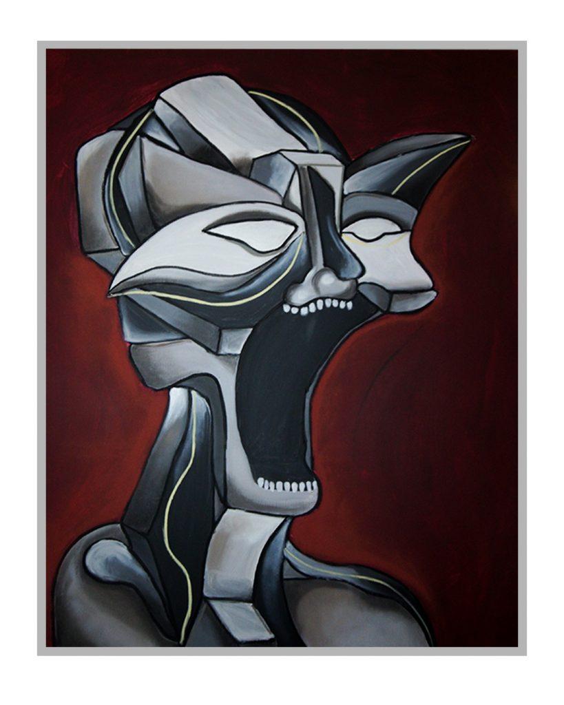 visage sur fond rouge, personnage gris, bouche ouverte