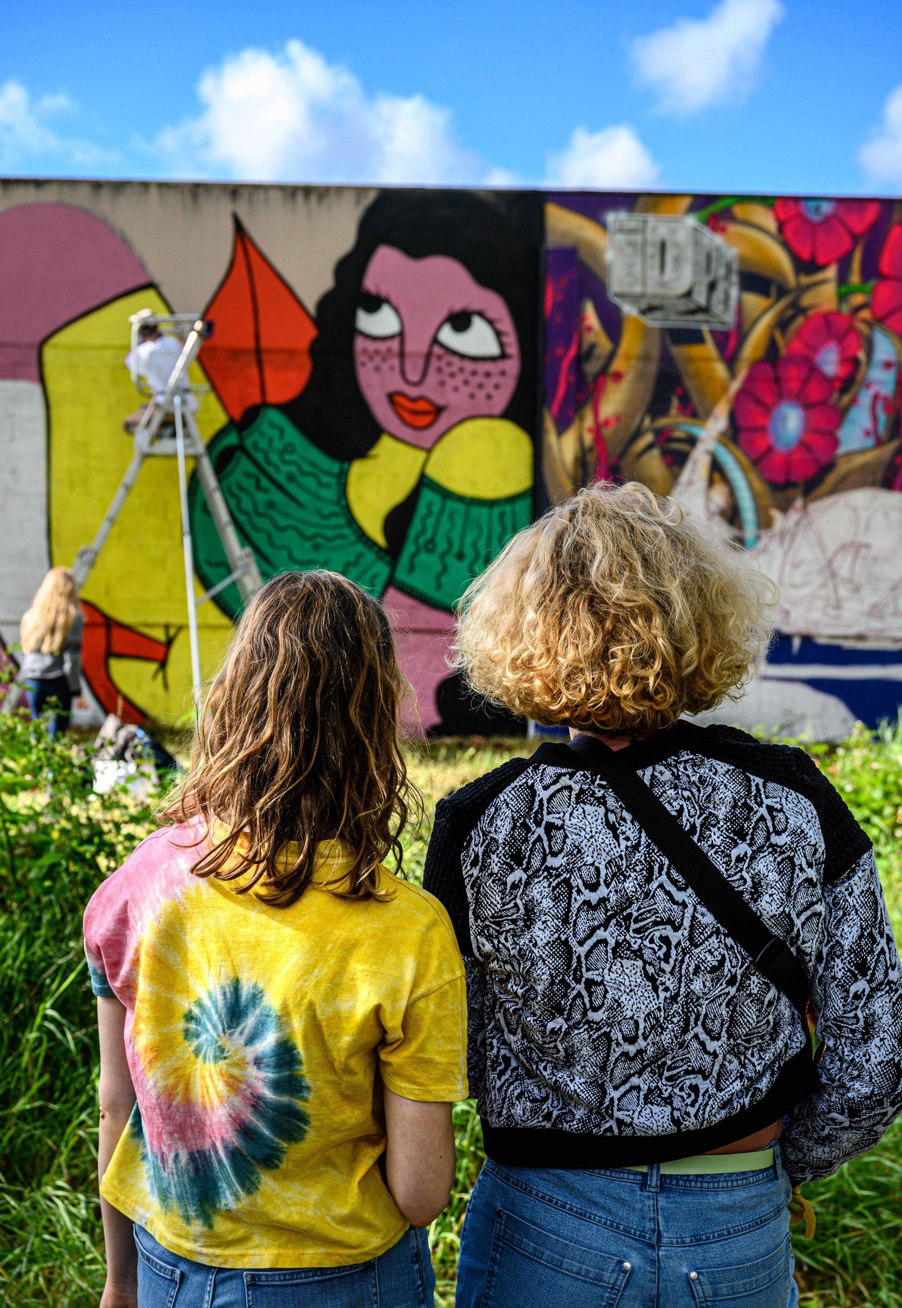 Work in progress de fresque de Floe (gauche) et de Loodz (droite) durant l'Urban Art Jungle Festival 05 en 2019