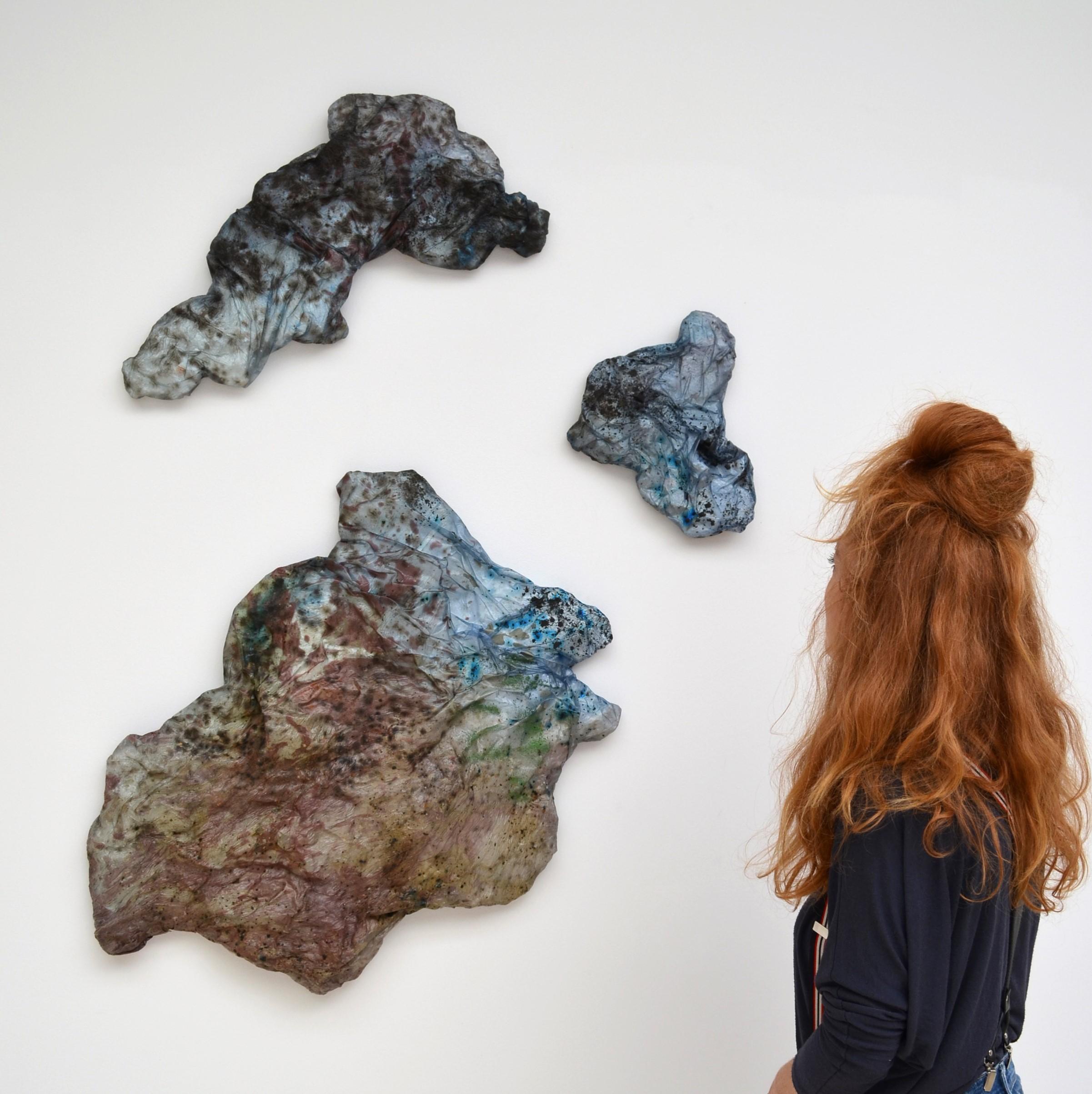 Charlotte Gautier Van Tour - Lecanora muralis, agar-agar, glycérine de moutarde, spiruline, pigments naturels, mousse, plâtre, 2020