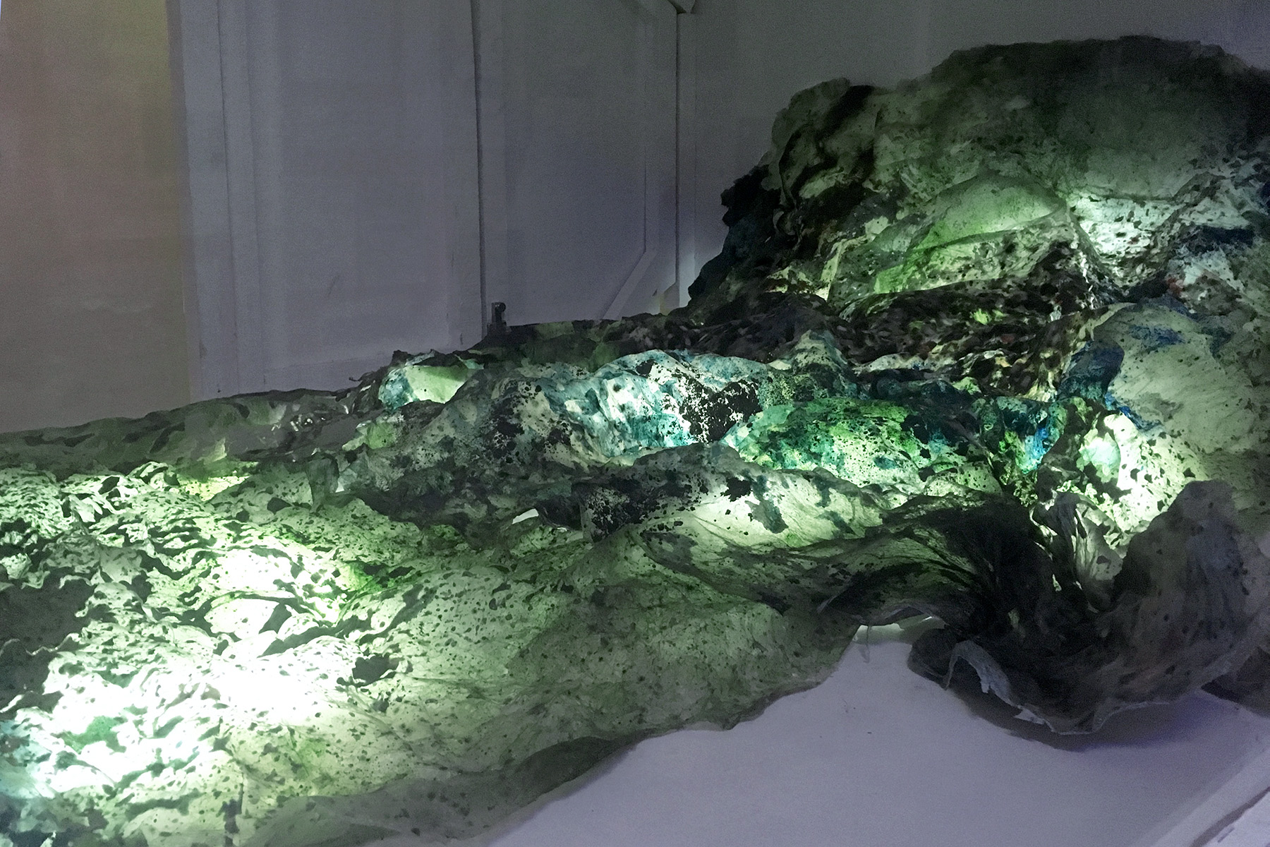 Charlotte GAUTIER VAN TOUR Relique Terre 2020, dimensions variables Agar-agar, spiruline, pigments naturels, néon flexible led © Charlotte Gautier Van Tour